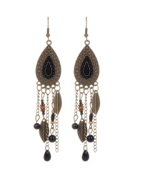 Fashion Black Leaf Decorated Water Drop Shape Simple Earrings