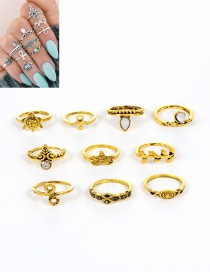 Fashion Gold Color Leaf&starfish Shape Decorated Pure Color Ring (10 Pcs)
