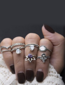 Fashion Silver Color Diamond Decorated Pure Color Simple Ring (8 Pcs)