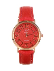 Trendy Red Dail Shape Decorated Pure Color Simple Watch