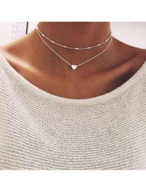 Lovely Silver Color Heart Shape Decorated Double Layer Choker