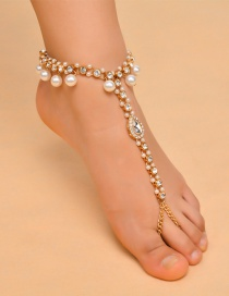 Vintage Gold Color Oval Shape Decorated Tassel Anklet