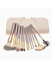 Lovely Beige Pure Color Decorated Cosmetic Brush (12pcs +cosmetic bag)