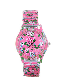 Lovely Pink Flower Shape Pattern Decorated Watch