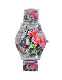 Lovely Multi-color Eiffel Tower Pattern Decorated Watch