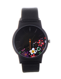 Fashion Multi-color Flower Shape Pattern Decorated Watch