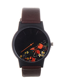 Fashion Coffee Flower Shape Pattern Decorated Watch