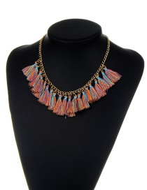Bohemia Multi-color Tassel Pendant Decorated Necklace