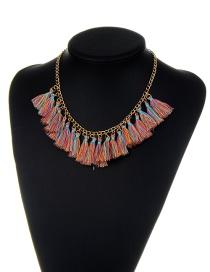 Bohemia Multi-color Tassel Pendant Decorated Necklace