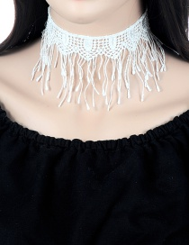 Vintage White Hollow Out Decorated Tassel Choker