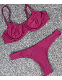 Sexy Claret-red Pure Color Decorated Swimwear