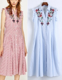 Fashion Blue Embroidered Fabric Decorated Simple Sleeveless Long Dress