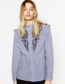 Lovely Light Blue Lacework Decorated Long-sleeved Shirt