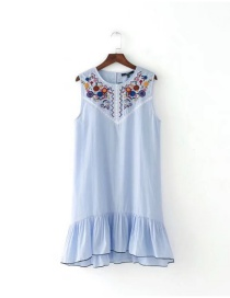Lovely Blue Embroidered Fabric Decorated Sleeveless Dress