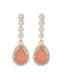Elegant Light Orange Watershape Diamond Decorated Earrings