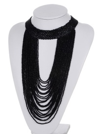 Exaggerate Black Bead Decorated Pure Color Multilayer Necklace