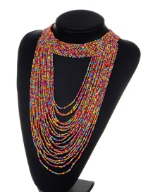 Exaggerate Plum-red Bead Decorated Pure Color Multilayer Necklace