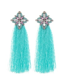 Bohemia Green Flower &tassel Decorated Earrings