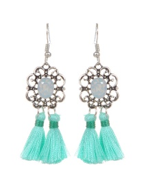 Bohemia Green Tassel Decorated Hollow Out Earrings