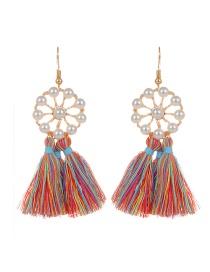 Bohemia Multi-color Tassel Decorated Round Shape Earings