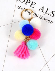 Fashion Multi-color Fuzzy Ball Decorated Pom Key Ring