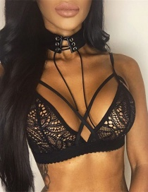 Sexy Black Corss Decorated Perspective Lingerie