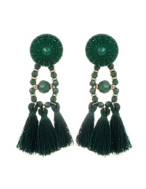 Bohemia Green Tassel Decorated Pure Color Earrings