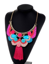 Bohemia Multi-color Color Matching Decorated Tassel Pom Necklace