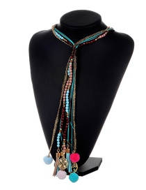 Bohemia Blue Long Tassel Decorated Pom Necklace