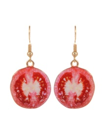 Lovely Red Pomegranate Shape Decorated Earrings