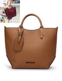 Elegant Dark Khaki Pure Color Decorated Handbag