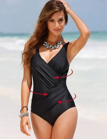Sexy Black Pure Color Decorated V-neckline Swimsuit