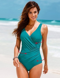 Sexy Green Pure Color Decorated V-neckline Swimsuit