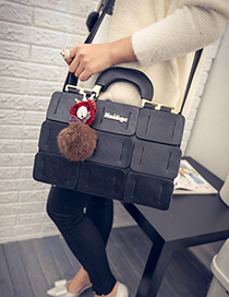 Fashion Black Fuzzy Ball Decorated Grid Shape Shoulder Bag