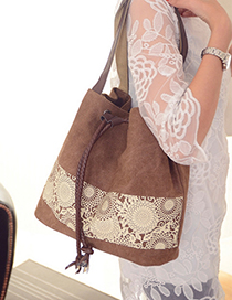 Fashion Coffee Tassel Pendant Decorated Simple Shoulder Bag