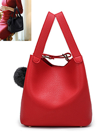 Fashion Red Fuzzy Ball Decorated Pure Color Shoulder Bag