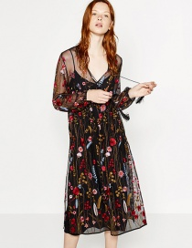 Fashion Black Embroidery Flower Decorated Transparent Lace Dress