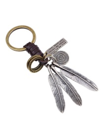 Fashion Silver Color Leafˆular Ring Decorated Simple Keychain