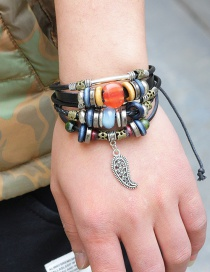 Fashion Black Beads Decorated Multi-layer Simple Bracelet