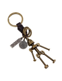 Fashion Bronze Robot Pendant Decorated Pure Color Keychain