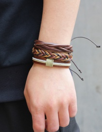 Fashion Brown Color Matching Decorated Simple Bracelet(3pcs)