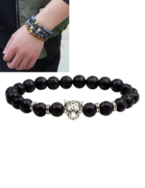 Fashion Black Lion Decorated Pure Color Simple Bracelet