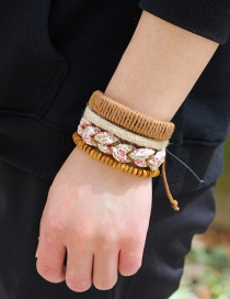 Fashion Brown Flower Pattern Decorated Simple Bracelet(4pcs)