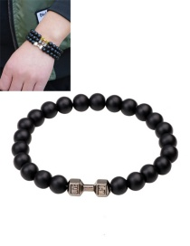 Fashion Black Dumbbells&bead Decorated Pure Color Bracelet