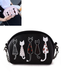 Fashion Black Embroidery Cat Decorated Pure Color Shoulder Bag