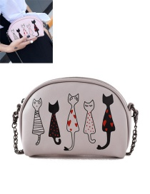 Fashion Beige Embroidery Cat Decorated Pure Color Shoulder Bag