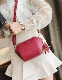 Fashion Red Tassel Decorated Pure Color Shoudler Bag
