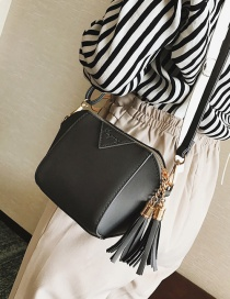 Fashion Gray Tassel Decorated Pure Color Shoudler Bag
