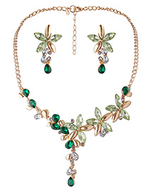 Fashion Green Flowers Decorated Simple Jewelry Sets