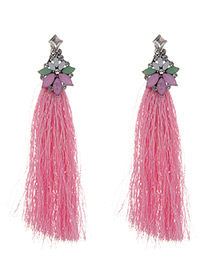 Fashion Pink Long Tassel Decorated Pure Color Earrings